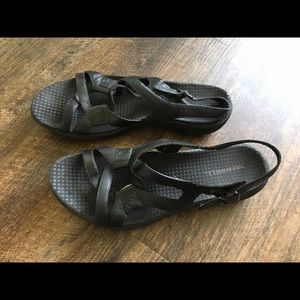 Merrell Agave Black Leather Sandals Size Womens 8.